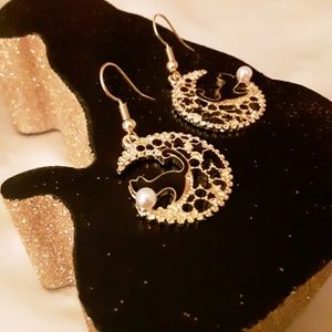 Black Enamel Cat Goldtone Starry Moon Earrings